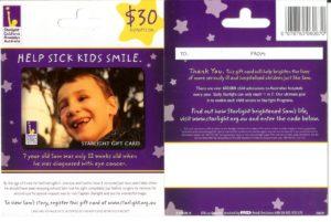 Starlight Children's Foundation Gift Card 2009